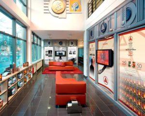 prostory divize pro veřejnost v ideální organizaci Scientologické církve v Německém Berlíně